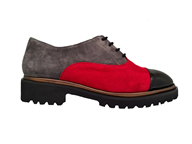 Hb Patent & Suede Lace Up Shoe In Grey/Black & Red